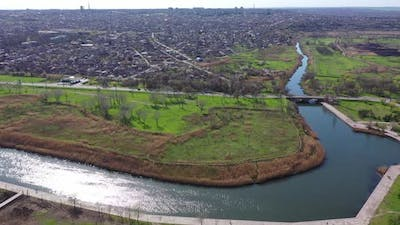 Aerial view of the river. You can see the bridge over the river