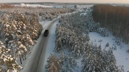 Truck Transporting Waste to a Waste Processing Plant in Winter