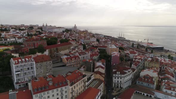 Thumbnail for Aerial View of Historical Part of Lisbon and Lisbon Cathedral at Sunny Day Portugal