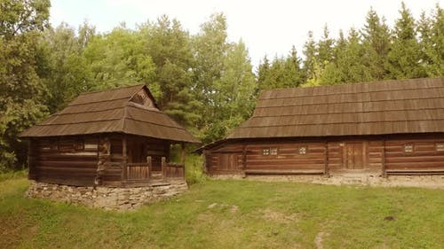 Two Rustic Wooden Shack Houses