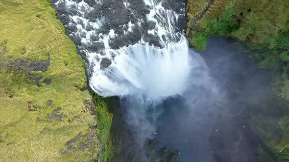 Cover Image for Flying Above Skogafoss Waterfall in Iceland