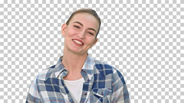 Cheerful young woman talking to a camera, Alpha Channel