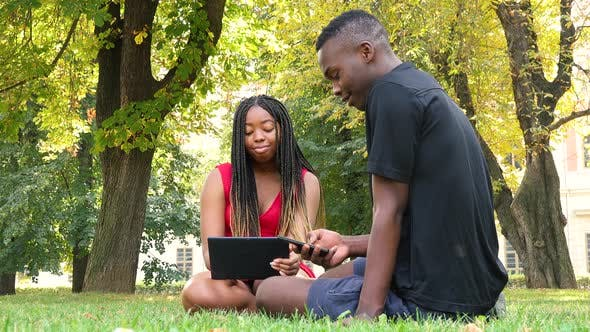 Thumbnail for A Black Man and a Black Woman Sit on Grass in a Park, Work on a Tablet and a Smartphone and Talk