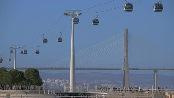 Thumbnail for Lisbon Cable Car and Vasco Da Gama Bridge, Portugal