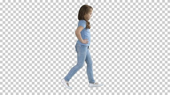 Thumbnail for Little girl in casual clothes walking, Alpha Channel