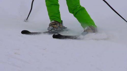 Amateur Skier Girl Downhill