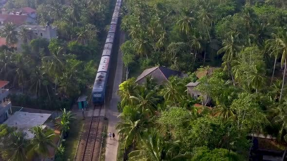 Thumbnail for Aerial Shot the Old Train Rides Through the Tropics with Palm Trees and Villas