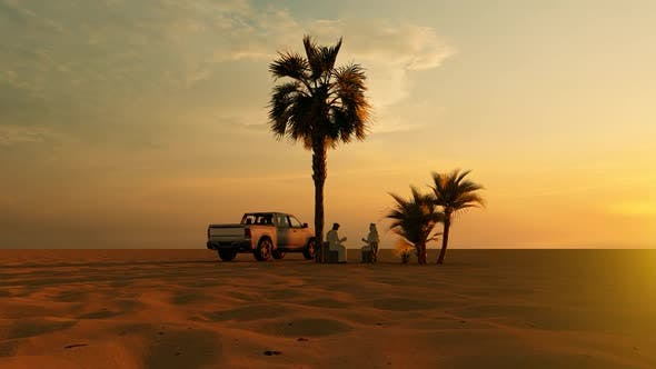Thumbnail for Two Arab Men Talking in the Desert and Sunset View