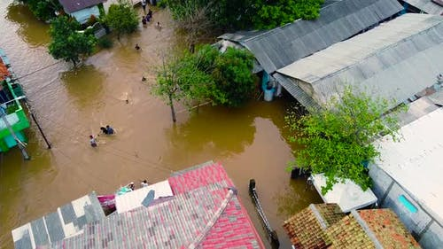 Aerial POV view Depiction of flooding. devastation wrought after massive natural disasters