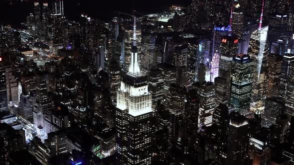 Thumbnail for Close Up view of the Empire State Building at Night as seen from a helicopter