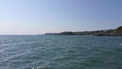 Aerial Shot Low Level Flight Over Sea