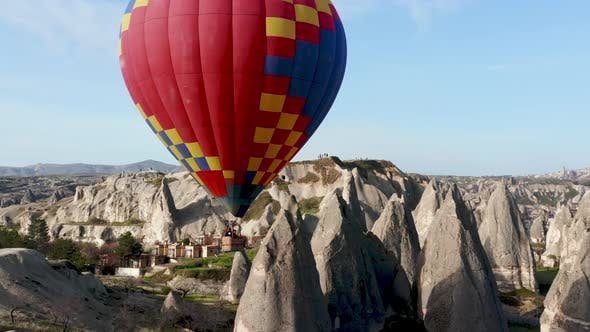Thumbnail for Colourful Red Blue Yellow Colours Hot Air Baloons Aerial Drone Flight. The Great Tourist Attraction