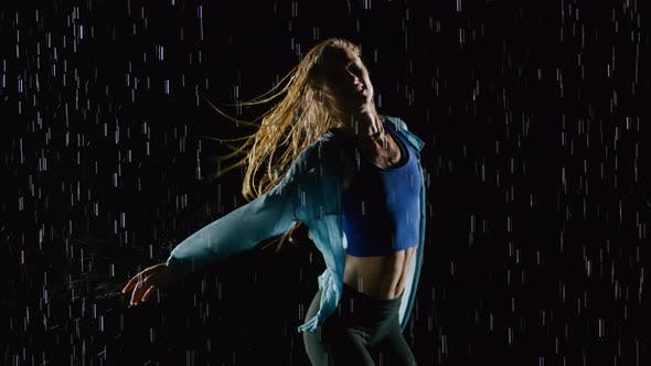 Thumbnail for Beautiful Female Hip Hop Dancer In The Rain