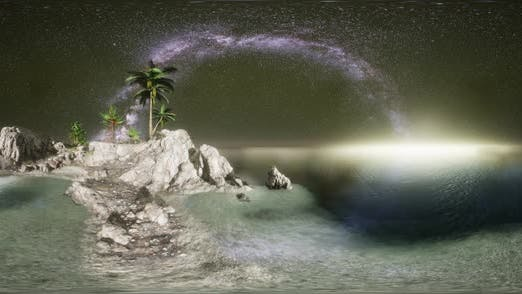 Thumbnail for VR 360 Beautiful Fantasy Tropical Beach with Milky Way Star in Night Skies