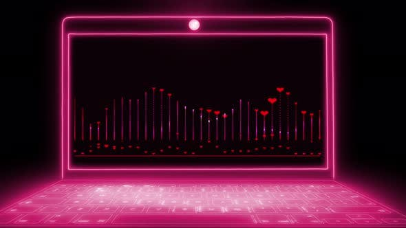 Love equalizer with red hearts on neon light notebook screen