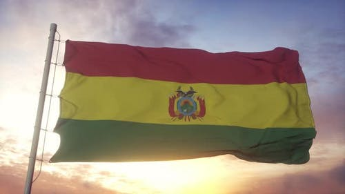 Flag of Bolivia Waving in the Wind Sky and Sun Background