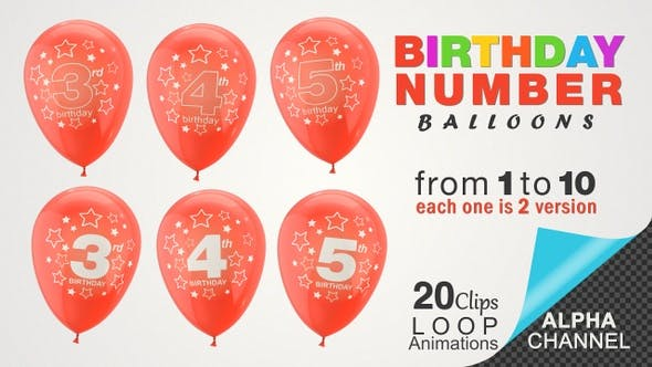 Thumbnail for Birthday Celebrations - Balloons With Birthday Numbers