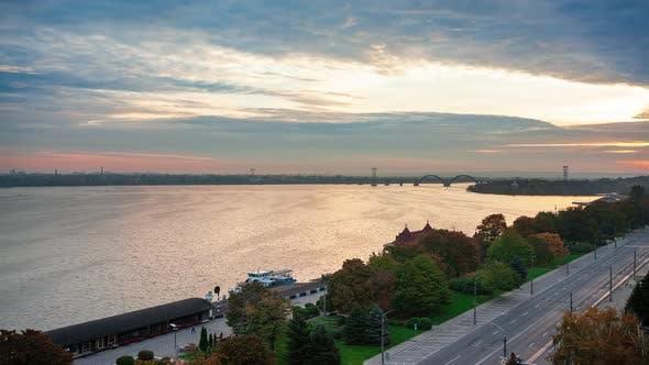 Timelapse  Sunrise of Cityscape Big City Dnipro of Ukraine Popular Tourist Attractions in Ukraine
