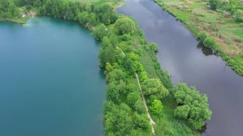 Aerial View Lake Shore Forest Road