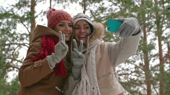 Thumbnail for Happy Women Taking Picture at Winter Vacation