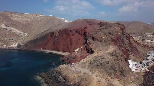 Aerial View of Red Beach, Santorini Island