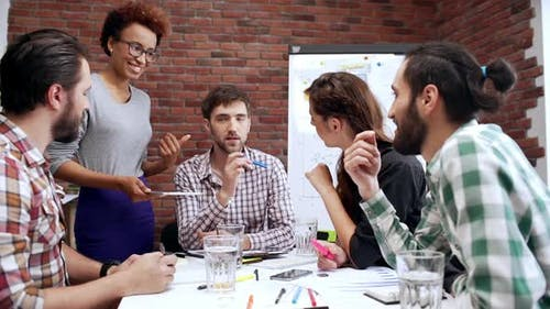 Female Ceo Team Leader Black Woman Working with Employees Standing Near Table with Group of