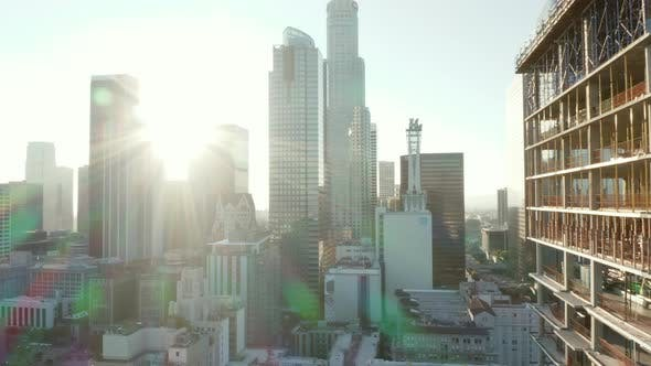 Thumbnail for AERIAL: Close Up of Construction Site Skyscraper in Downtown Los Angeles, California Skyline at