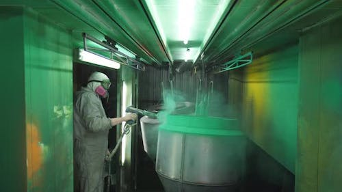 Industrial Painting Process in Chamber