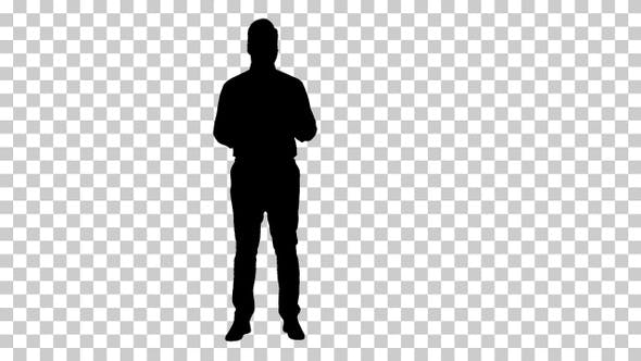 Thumbnail for Silhouette Businessman presenting something, Alpha Channel