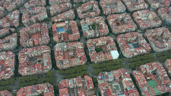 Thumbnail for Aerial View. Typical Square Quarters of Barcelona