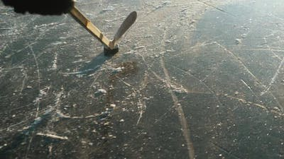 Ice Hockey Player Point of View Shot of a Puck Being Shot on Frozen Lake, Professional Player