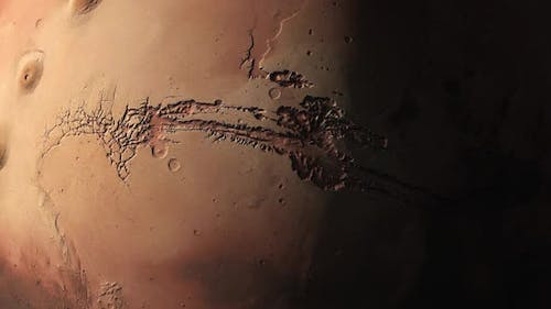 Surface of Mars as the Terminator Sweep the Surface Highlighting the Craters