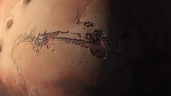 Cover Image for Surface of Mars as the Terminator Sweep the Surface Highlighting the Craters