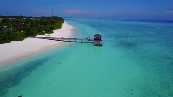 Thumbnail for Wide angle drone copy space shot of a sandy white paradise beach and aqua blue ocean background in b