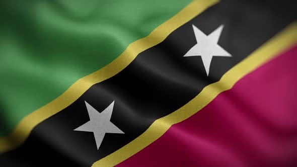 Saint Kitts And Nevis Flag Textured Waving Front Background HD