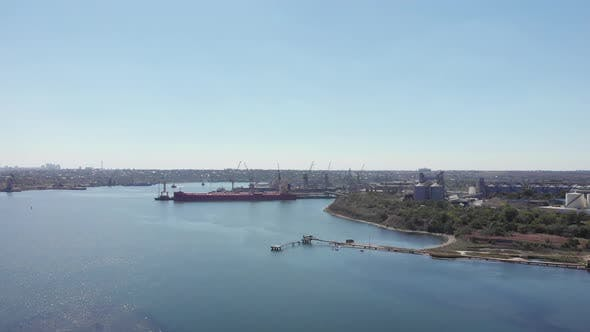 Aerial view of Chernomorsky Port, Black Sea, Black Sea port with cargo ship is moored in port