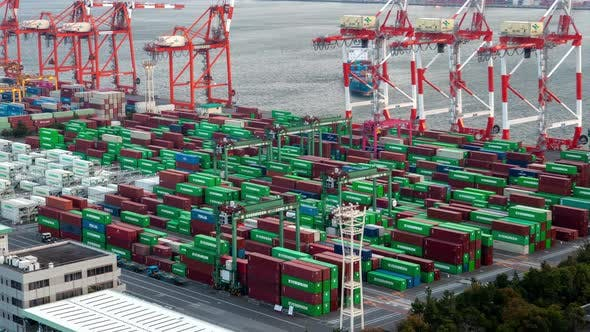 Thumbnail for Tokyo Container Terminal Day Japan Time Lapse