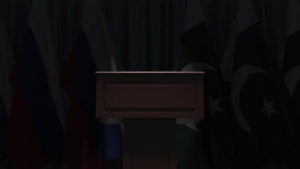 Many Flags of Pakistan and Russia