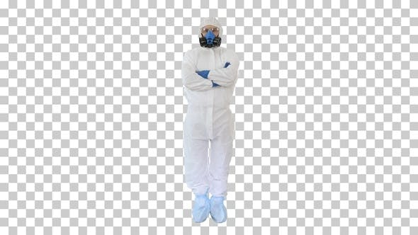 Doctor in protective suits with folded hands, Alpha Channel