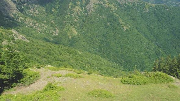Hiker Taking Photos of Beautiful Deep Green Valley at Balkan Mountains Above Sopot