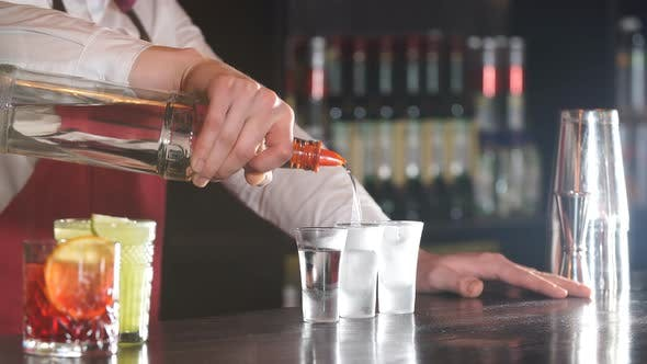 Thumbnail for Close-up Bartender Pouring Some Drink From Bottle Into Shot Frozen Glasses on Wooden Counter