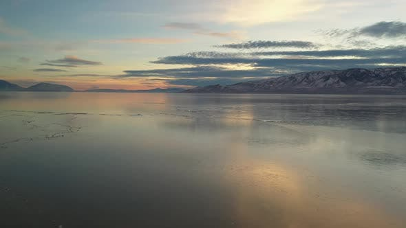Thumbnail for Flying over Utah Lake viewing sheets of ice on the surface