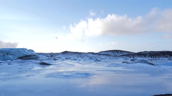 Thumbnail for Iceland View of Giant Blue Glacier Ice Chunks in Winter