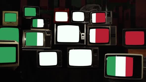 Flag of Italy and Old 80's Televisions.
