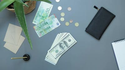 Money cash falling on table