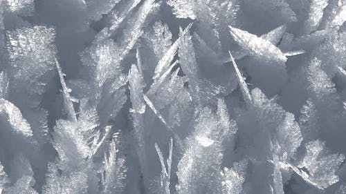 Rime Ice Crystals and Hoar Frost Covered on Untouched Ground