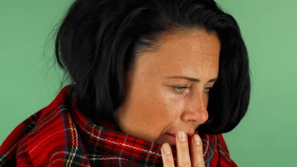 Thumbnail for Mature Woman Coughing Feeling Sick and Tired 1080p