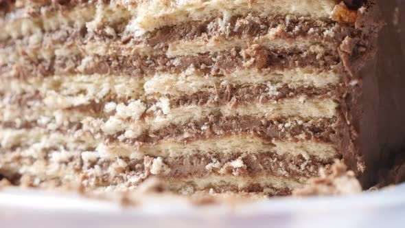 Thumbnail for Layers of tasty torte with biscuits 4K 2160p 30fps UltraHD tilting footage - Creamy  chocolate cake