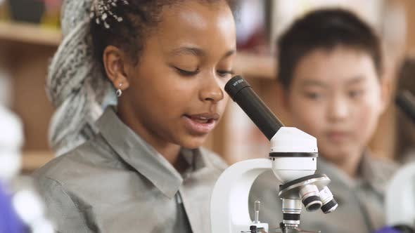 Lesson in a Modern School, Kids Look at Microscopes and Communicate in a Chemistry Lesson, the