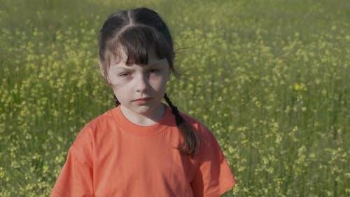Allergy in summer meadow.